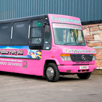 22 Seater Pink Panther Party Coach exterior 1