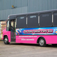 22 Seater Pink Panther Party Coach exterior 2