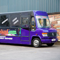 22 Seater Purple Party Coach exterior 1