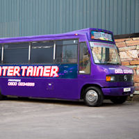 28 Seater VIP Entertainer Boogie Party Coach exterior 1