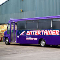 28 Seater VIP Entertainer Boogie Party Coach exterior 2