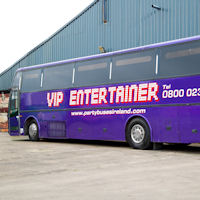 49 Seater VIP Entertainer - Ireland's Largest Party Bus exterior 2